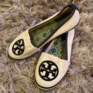 Tory Burch Cream/Navy Canvas Flats